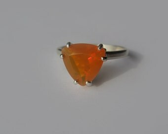 Unique Natural Tangerine Orange Trillion Opal In Sterling Silver Ring, 2ct. Size 7