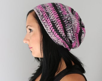 Pink Berry Blend Toboggan Slouchy Hat, Pink, Black and Grey Slouchy Hat, Winter Accessories from Midwest Crochet