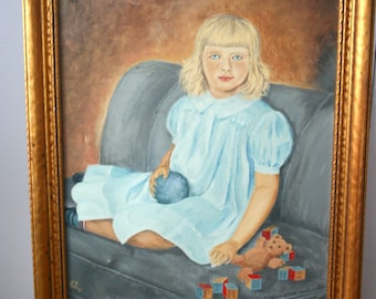 1950s Original Oil Portrait: Girl with Toys