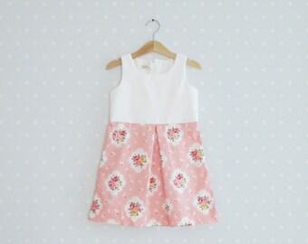 Shabby Chic Girls Dress, Toddler summer dress, Baby girl Pink and White Dress, Vintage Inspired Girls Dress