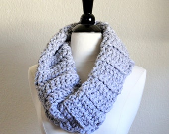 Gray Oversized Scarf, Crochet Infinity Scarf, Hand Knit Cowl Scarf, Chunky Scarf, Chunky Knit, Snood, Winter Accessories, Ready to Ship