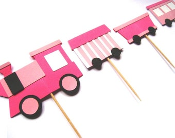 TRAIN Cupcake Toppers - Set of 12 - Girl Party - You get 3 complete trains