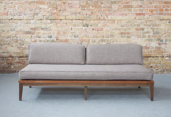 reserved mid century modern reupholstered gray daybed sofa couch neutral wood frame
