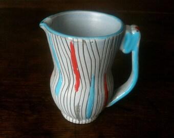 Vintage English Small Blue Grey Red Jug Pitcher Vase circa 1950-60's / English Shop