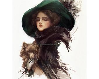 Schipperke Pomeranian Card - Repro Harrison Fisher Girl w Puppy Dog ...