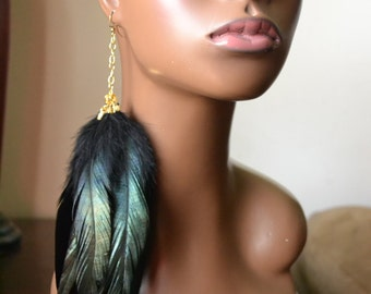 Black Single Feather Earring