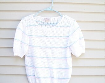 Pointelle Knit Striped Short Sleeve Pastel Sweater, Pink and Blue Striped Sweater