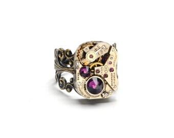 Steampunk Ring FEBRUARY AMETHYST Purple Steampunk Vintage Watch Ring Antique Brass Ring Steam Punk Steampunk Jewelry By VictorianCuriosities