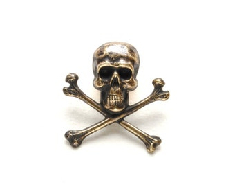Steampunk Pirate Pin, Steampunk Hat Pin, Skull & Bones, Gothic Skull Crossbones, Pirate Victorian Steampunk Jewelry By Victorian Curiosities