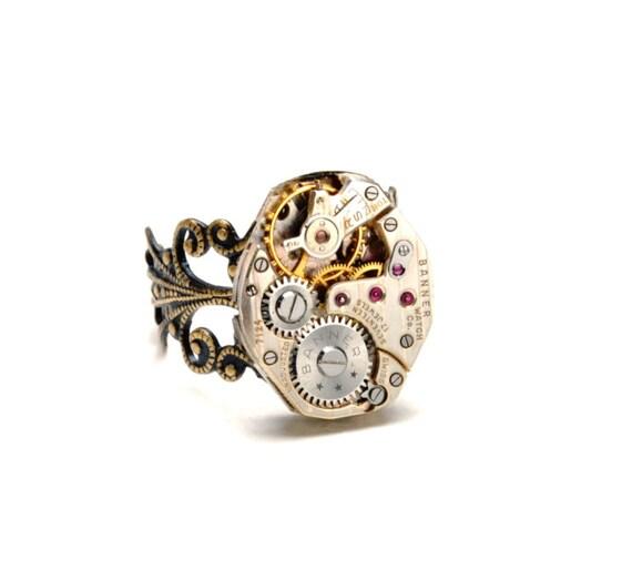 STRIPED Steampunk Ring RARE Steampunk Watch Ring Men Women UNIQUE Vintage Watch Ring Antique Brass Steampunk Jewelry By VictorianCuriosities