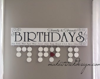 White and Black Family Birthday Celebrations Board Wall Hanging