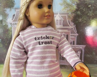 Halloween Sweater, Hoodie Sweater, Tunic Sweater,  18 inch Doll Clothes