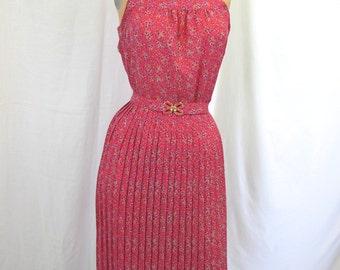 1970s Pink Floral Sun Dress