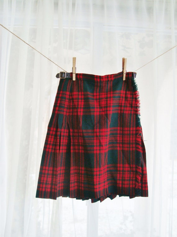 classic tartan plaid wool kilt pleated skirt size by