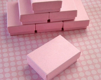 10 High Quality Matte Light Pink Cotton Filled Jewelry Boxes 2 1/2 x 1 3/4 x 15/16 inches - Small