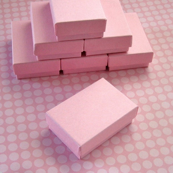 Matte Light Pink Cotton Filled Jewelry Boxes High Quality 2 1/2 x 1 3/4 x 15/16 inches - 10 Small