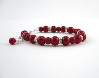 Dark Red Bridesmaid Bracelet, Firebrick Red Bridesmaid Bracelet Gift, Dark Red Pearls & Rhinestones with Extender