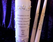 Pillar Only - Personalized Unity Candle set made with a swirl design of rhinestones and pearls