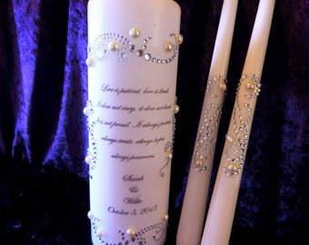 TOP SELLER - Three Piece Personalized Unity Candle set made with a swirl design of rhinestones and pearls