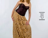 Upcycled Lace Overlay Floor Length Skirt- Elastic Waistband, Beige