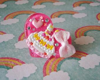 Happy Birthday Strawberry Cake Mini Bunny Hot Pink Heart Ring