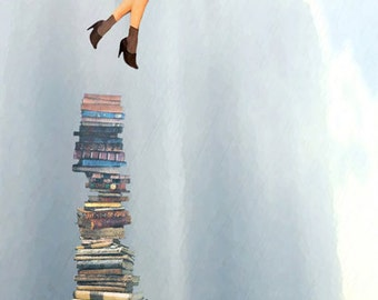 A Great Escape Woman flying away with Books Original digital painting Lustre Photo Art Print 8x24