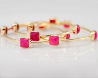 Bangles - Fuchsia Pink Chalcedony Bangles -  Hot Pink Bangles - Gemstone Bangles - Stacking Bangles - Gold Bangle