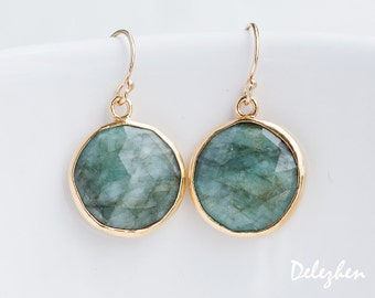 Raw Emerald Earrings - May Birthstone Earrings - Round Gemstone Earrings - Gold Earrings - Drop Earrings