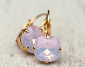 Blush Wedding Light Pink Opal Bridesmaid Earrings Gold Estate Style Vintage Earrings Wedding Jewelry Bridal Earrings