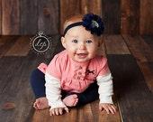 Baby Flower Headband- Baby Headband- Navy Flower Headband- Baby Girl Headband- Newborn Headband