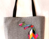 large tote in black yarn dyed linen + multicolored geometric print michigan applique