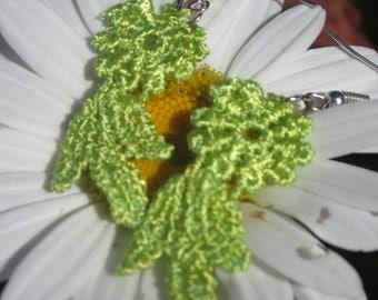 Lime Green Flower earrings - Lace Earrings - Neon Green