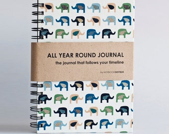 LAST PIECE Weekly Planner A5 Size (Undated) All Year Round Timeless Journal -  Multi Elephants
