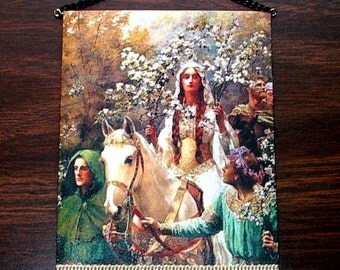 May Queen Tapestry, Medieval Dollhouse Miniature 1/12 Scale, Hand Made