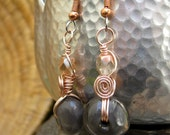 Lampwork Glass Earrings In Gray Nuggets Wrapped in Rose Gold Colored Wire
