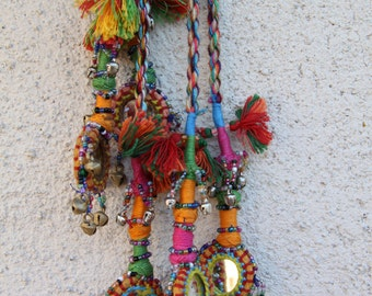Camel Swag (Small), Multi-Colored Mirrored, Bells Camel Pom Pom, Tassel, Decoration, Boho, Gypsy Fashion Design, Decorating Supplies