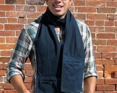 TrouserScarf in navy blue - upcycled unisex scarf made from men's dress pants, with pockets
