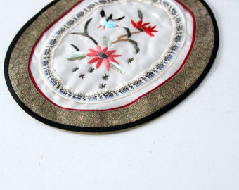 Japanese table mat, vintage Asian textile, embroidered floral table decor