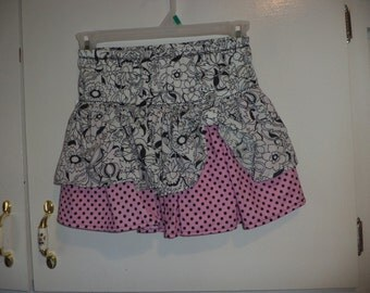 Girls Skirt, Double Ruffle, Black & White Floral Pink with Dots  Sizes 3-5 only, Sample Sale