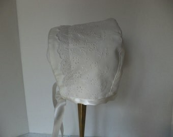Baby Bonnet,  Vintage Ivory Eyelet, Cotton Bonnet Newborn Size, Ready to Ship