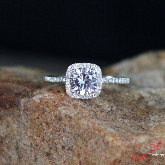 White Sapphire Amp Diamond Halo Engagement Ring By