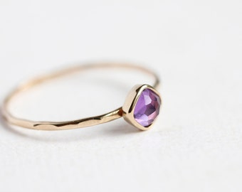 February birthstone ring, gold & amethyst stacking ring, 14k solid gold, thin gold ring, radiant orchid, purple gemstone, size 9.25 - 13