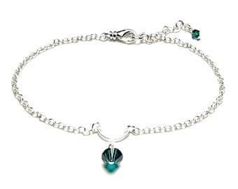 Swarovski Crystal Birthstone Anklet, Silver Anklet, Silver Ankle Bracelet, Personalized Jewelry, Birthday Present For Women, Graduation Gift