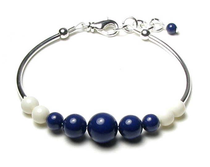 Navy Blue Off White Nautical Theme Silver Adjustable Bracelet Women Summer Sailor Stripe Bead Jewelry Swarovski Gem Colors Lapis Blue Ivory