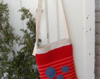 Reclaimed wool hip bag with appliques