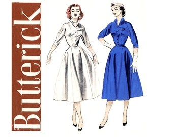 1950s Vintage Sewing Pattern Shirtwaist Dress Bust 34 UNCUT Butterick 6710 Full Skirt, Wing Collar, Tab Accent Day or Evening Dress