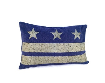 Washington DC Flag Pillow Cover from Military Blanket - Navy Blue