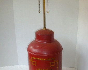 Antique Chinoiserie Red Tea Canister Tole Lamp