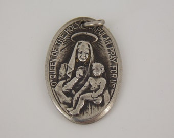 "O'Queen of the Holy Scapular Pray for Us Silver Vintage Religious Medal on 18"" sterling silver rolo chain"