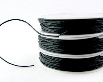 Waxed Cord : 10 yards (30 feet) Midnight 1mm Waxed Cord String / Bracelet Cord / Macrame Cord / Chinese Knotting Cord / Shamballa Cord 81852